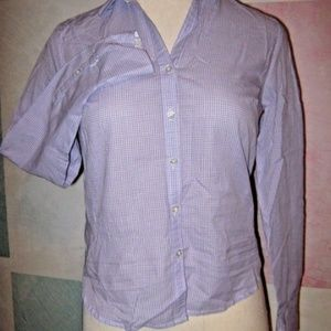 Purple White Gingham Small Check Button Shirt S